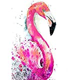 5D Diamant Aquarell Malen Kit von Malen nach Zahlen Pink Flamingo DIY 5D Diamant Painting Kristall Strass Kreuzstich Stickerei Arts Craft für Home Wand-Decor 30 x 40 cm