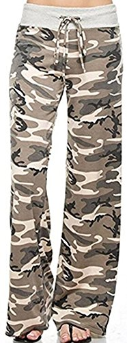 X-Image Women's Casual Pajama Pants Floral Print Drawstring Palazzo Lounge Pants Wide Leg Camo, Medium