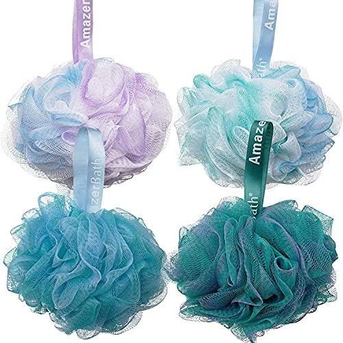AmazerBath Shower Bath Sponge Shower Loofahs Balls 75g/PCS for Body Wash Bathroom Men Women- Set of 4 Flower Color Sponges