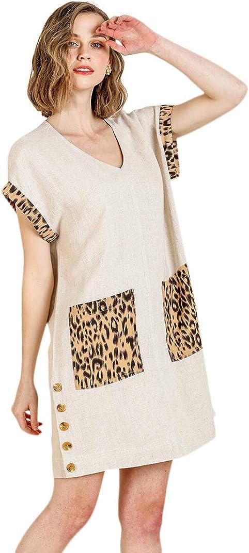 Umgee Women's Animal Print V-Neck Short Dress Industry No. 1 Sleeve Max 68% OFF