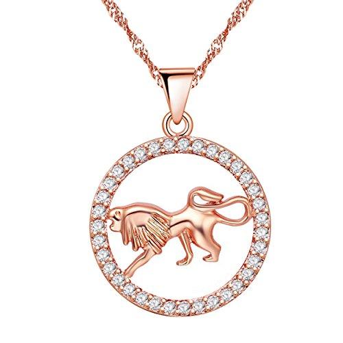Uloveido Collar con Colgante de Signo del Zodiaco de Leo para Mujeres Niñas Chapado en Oro Rosa Collar de león de cumpleaños para Hombres Niños N1047