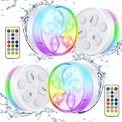 Luces LED Sumergibles, ShinePick 4PCS Piscina Luz LED IP68 Impermeable, con RF Control Remoto y Ventosas, RGB Multicolor Luces, para Estanque, JarróN, Piscina y DecoracióN De Fiestas