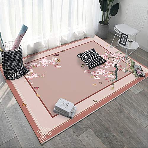 RUGMRZ Teppich rutschfest Weicher Teppich des rosa Pflanzenblumenmusters frischer Stil rutschfest...