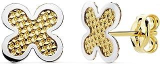 18K Gold Earrings Bicolor 7mm. 4 Leaf Clover Girl Carved [Ac0134]