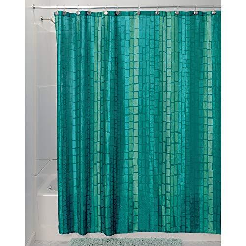 iDesign Moxi Duschvorhang 183x183 | Designer Duschvorhang mit 12 Löchern & Kachelmuster | w&erschöne Edelknitter-Optik | Polyester aquamarin