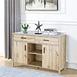 ICE ARMOR 99JET300-3179 Sideboard, Large Dining Server Cupboard Buffet Table Storage Cabinets, Drawers, Two Open Shelves, 47 Inch, Beige Oak Finish