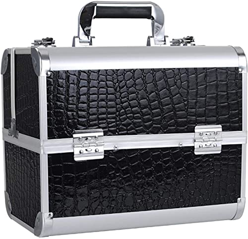 Joligrace プロ仕様 メイクボックス 大容量 コスメボックス 4段トレイ 化粧箱 化粧ボックス コスメ収納 メイク道具 化粧品収納ボックス 鍵付き 黒 (ブラック)