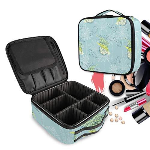 Piñas Que Pintan El Arte Azul Bolsa de Maquillaje Organizador de Cosméticos Portátil Estuche Mochila con Divisor Ajustable para Mujeres Niñas