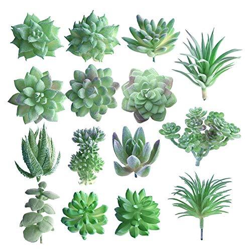 15 piezas de plantas suculentas artificiales verdes sin maceta, flores de imitación suculentas, mini tallos a granel para el hogar, interior, decoración de jardín de hadas (al azar)