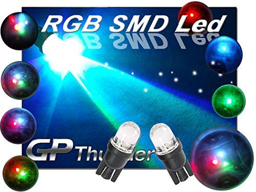 10 pcs = 5 Pairs - 7 Changing Colors Led Light Bulbs 194/158 / 168 / 2825 / T10 Blue Green Red GP Thunder