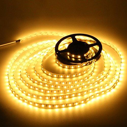 高輝度LEDテープライト SMD 2835 3528 5M 300連 強力粘着両面テープ 正面発光防水仕様IP65 切断可能 (電球色)
