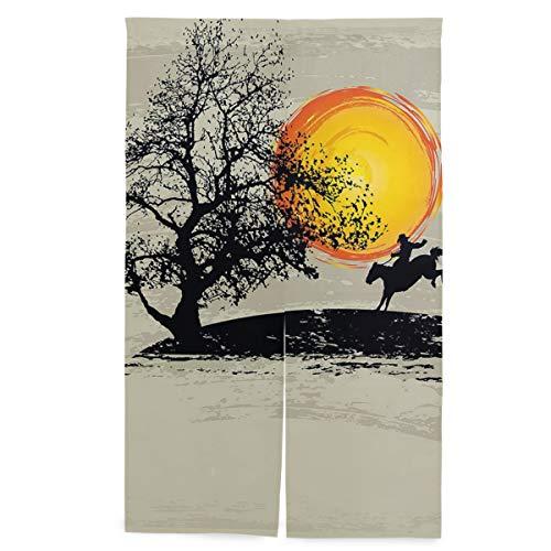 JISMUCI Vorhänge für Türen,Künstlerische Malerei Art Zusammensetzungs Einstellung Sun Lonely Tree Country,Türvorhang Für die Küche Wohnzimmer Schlafzimmer