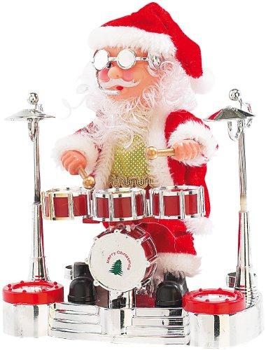 infactory Weihnachtsartikel: Singender Schlagzeuger-Weihnachtsmann mit LED-Lichtershow (Trommelnder Weihnachtsmann)
