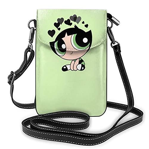 XCNGG Monedero pequeño para teléfono celular Powerpuff Girls Crossbody Bags for Women's Crossbody Handbags Cell Phone Purse Waterproof Leather Handbags Small Wallet