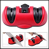 JEEJEX Portable Kitchen Two Stages Knife Dual Diamond Sharpener Vacuum Sucker Anti-Slip Ceramics Abrasive Wheel Sharpening Stone with Suction Pad Grinder Safety Red Kitchen Tool Set