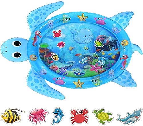 Tummy Time Water Mat, Baby Water Mat Infant Inflatable Play Mat for 3 6 9 12 Months Newborn Boys Girls-122cm*95cm