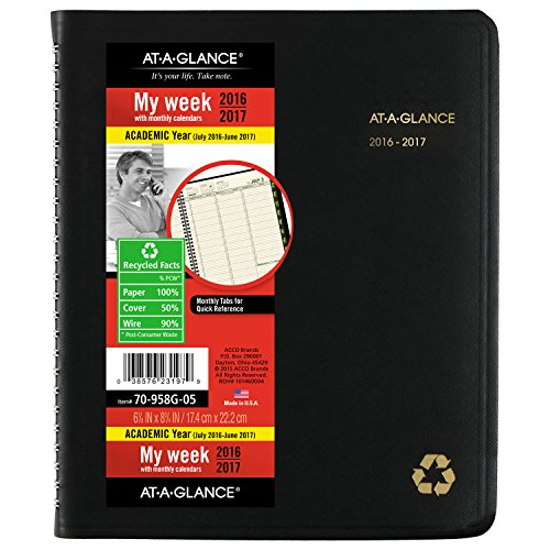 """AT-A-GLANCE Academic Year Weekly / Monthly Appointment Book / Planner, July 2016-2017, 6-7/8""""x8-3/4"""" (70-958G-05)"""