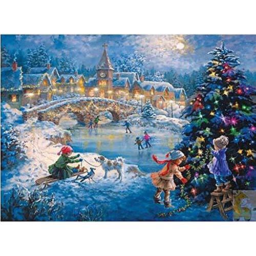 XCJX 30 * 40cm frameless 5D diamond painting painting cross stitch full diamond embroidery mosaic landscape winter scenery home decoration
