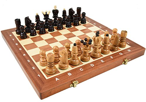 寄木細工のポーランド製チェスセット:Cassiopeia(カシオペア)40.5cm×40.5cm 木製 chessチェス盤チェス駒セット