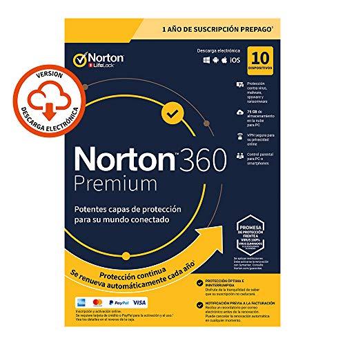 Norton 360 Premium 2020 - Antivirus software para 10 Dispositivos y 1 año de suscripción con renovación automática, Secure VPN y Gestor de contraseñas, para PC, Mac tableta y smartphone