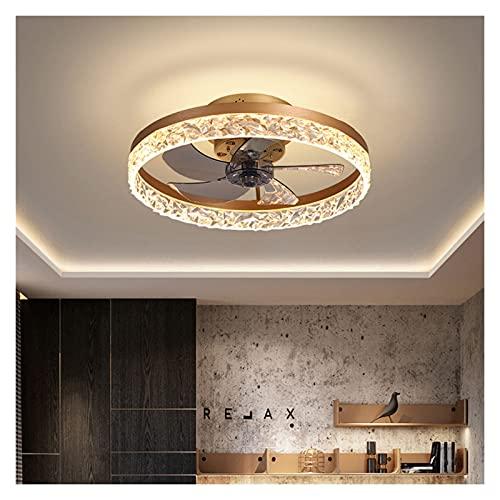 William 337 Luces de Ventilador, conversión de frecuencia silenciosa, Luces de Techo Minimalistas Modernas del Dormitorio (Color : Gold)