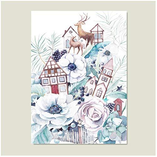 YIYAOFBH Cartoon Poster Nordic House Abstrakt Knytande Blomma Affisch och Tryck Söt Hirsch Canvas Konst Väggkonst Bild-60 x 90 cm Ingen ram