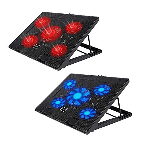 Kootek Laptop Cooling Pad 12'-17' Cooler Pad Chill Mat 5 Quiet Fans LED Lights and 2 USB 2.0 Ports Adjustable Mounts Laptop Stand Height Angle