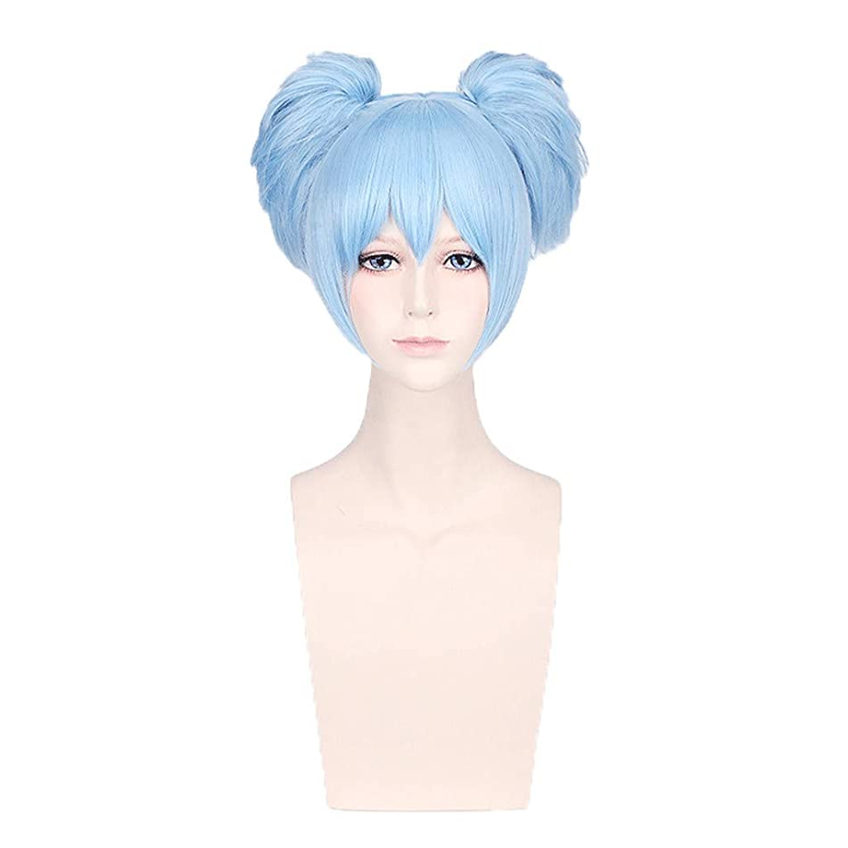 Blue Cosplay Hair Wigs for Women - GorNorriss Cosplay Wavy Curly Synthetic Wig Blue Short Party Wigs Short Blue Hair Clip Wigs