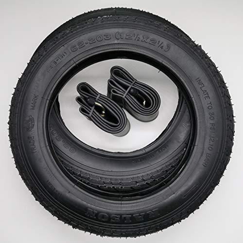 Black1 2x12 Zoll Reifen + Schläuche (AV gebogen) 12 1/2 x 2 1/4   ETRTO 62-203 mit 1mm Pannenschutz Decke Mantel Fahrrad Kinder Roller Anhänger abgewinkeltes Autoventil