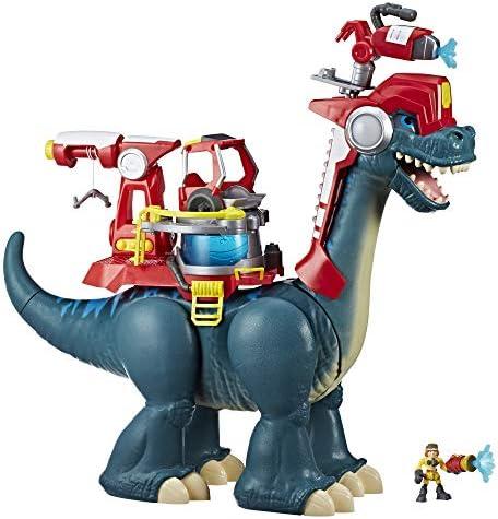 Chomp Squad Playskool Blazeasaurus and Sparks McKenzie 20 Inch Brachiosaurus Dinosaur Firefighter product image
