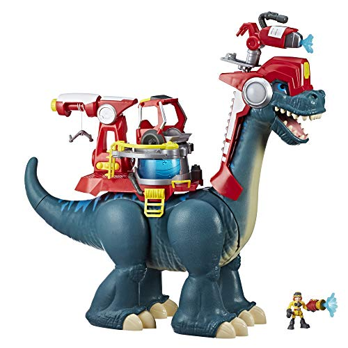 Chomp Squad Playskool Blazeasaurus and Sparks McKenzie, 20-Inch Brachiosaurus Dinosaur Firefighter Toy and Action Figure for Kids 3 and Up
