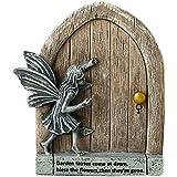 sknonr Placa de decoración de la Pared de jardín Plaque de la Puerta de Hada Resina al Aire Libre Retro Acabado