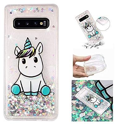 HopMore Funda Silicona para Samsung Galaxy S10e Glitter Liquido 3D Brillante Purpurina Transparente Dibujo Carcasa Resistente Antigolpes Caso Protección para Chicas Mujer - Unicornio