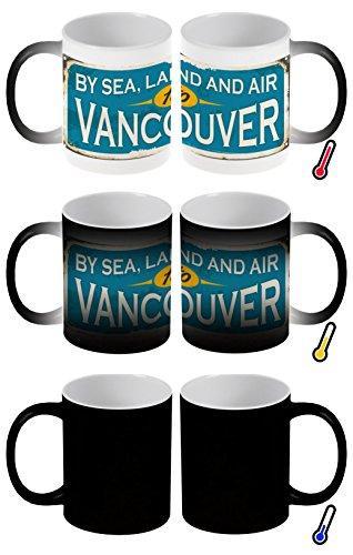 LEotiE SINCE 2004 Zaubertasse Farbwechseltasse Kaffeebecher Tasse Becher Latte Cappuccino Espresso Reisen Küche Vancouver Kanada