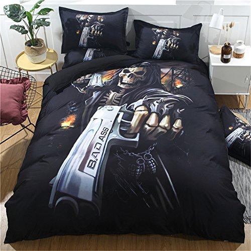 3piezas Edredón de Guerrero Calavera Halloween calavera ropa de cama Shelton gunnerquilt y funda de almohada, Multiplicate, 200*230cm for 1.5M Bed