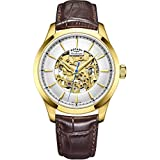 Rotary Mens Skeleton Automatic Watch with Leather Strap GS05035/03