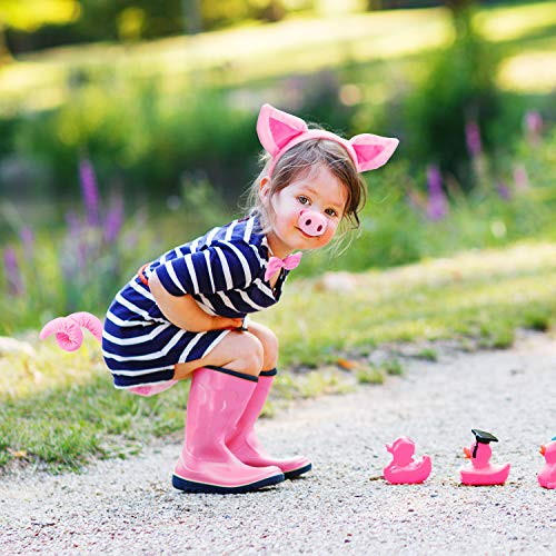 Pig Costume Set Pig Ears Nose Tail and Bow Tie Pink Pig Fancy Dress Costume Kit Accessories for Kids Halloween Party, Halloween Celebrations, Costume Parties, Dress up Play