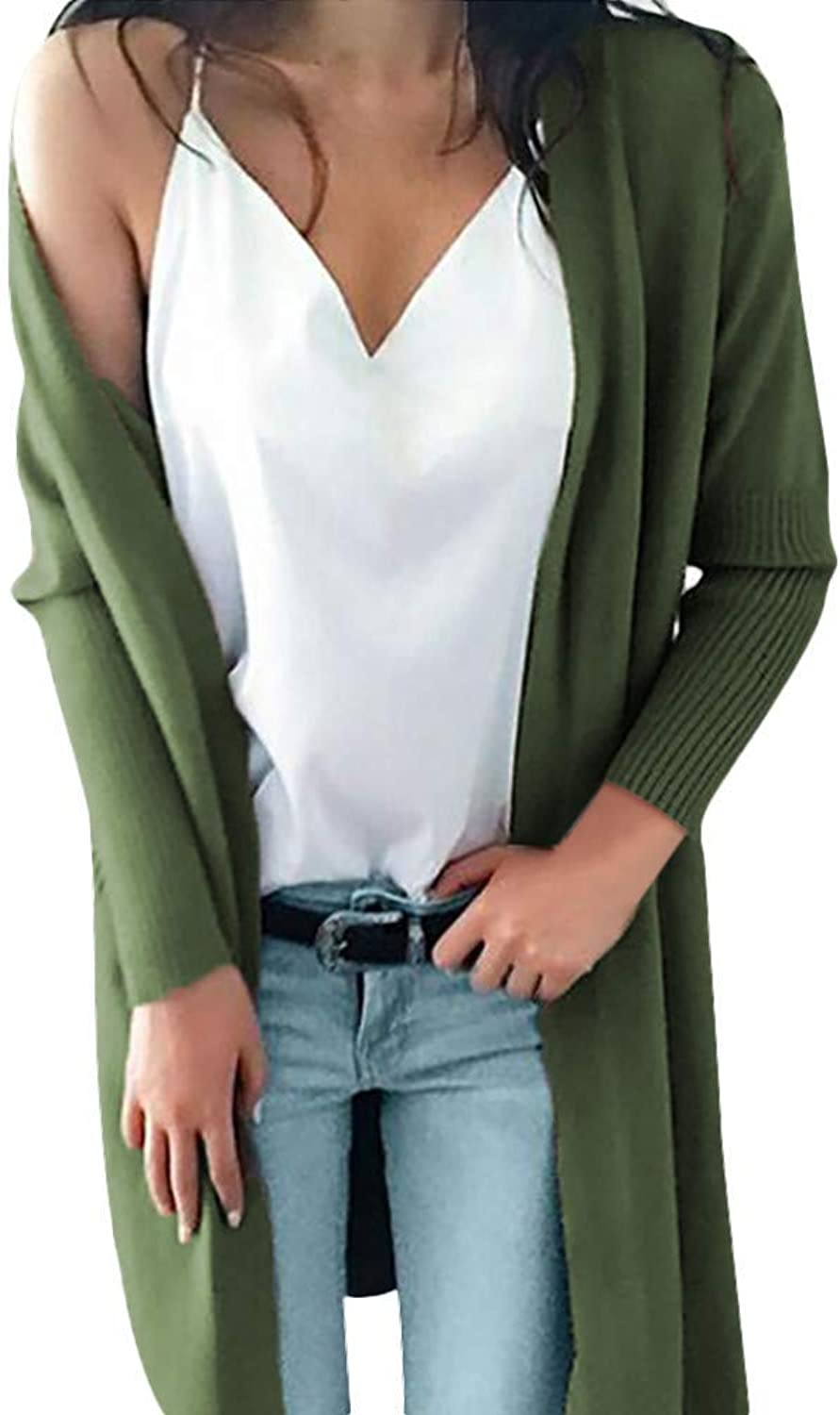 Bon Soir Women Autumn Cardigan Solid Knitted Long Sweater Coat Ladies Outerwear