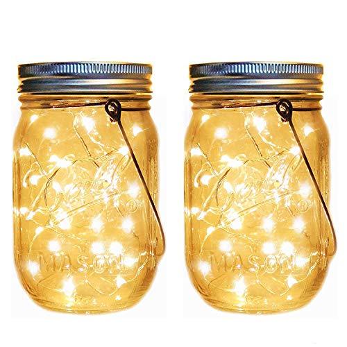 Reuyer メイソンジャー風ソーラーライト 屋外 ガーデンライト 夜間自動点灯防水 LED ソーラー充電式 イルミ...
