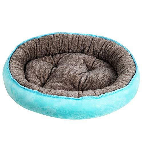 SimidunEUR Hundebett Waschbar Runde Hundekorb für kleine Hunde Katzen Weiche Plüsch Hundekissen,Blauer See 1,S (40 * 30CM)