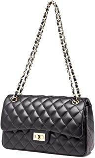 PU Rhombic Chain Package Classic Crossbody Shoulder Bag for Women Quilted Purse with Metal Chain Shoulder Bag