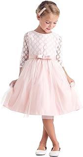 Sweet Kids Little Girls Blush水玉半透明オーバーレイEasterドレス2?–?6
