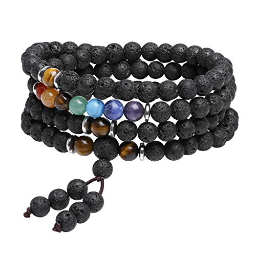 Top Plaza 108MalaPrayerBeads Stretch Bracelet 7 Chakra Lava Rock Stone Aromatherapy Essential Oil Diffuser Multilayer Wrap Bracelets Reiki Quartz Jewelry for Womens Mens