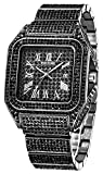 Men's Fashion Black Crystal Watch Luxury Diamond Watch 45mm Big Face Square Full Bling Iced Out Watch for Men Hip Hop Rapper