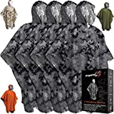 Emergency Blankets & Rain Poncho Hybrid Survival Gear and Equipment –Tough, Waterproof Camping Gear Outdoor Blanket – Retains 90% of Heat + Reflective Side for Increased Visibility – 4 Pack (Camo)