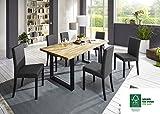 SAM 7tlg. Tischgruppe, 1 x Esszimmertisch und 6 x Polsterstühle, Tisch aus FSC 100% zertifiziertem Eichenholz, Esszimmerstühle mit Stoffbezug, 180 x 90 cm [521517]