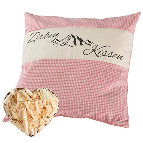 Herbalind Zirbenkissen mit Tiroler Zirbenflocken - 100% Baumwolle ohne Zusatzstoffe, Kopfkissen in Design Rosa kariert als Schlafkissen, Dekokissen, Zierkissen Geschenk Frauen (Rosa, 40 x 40 cm)