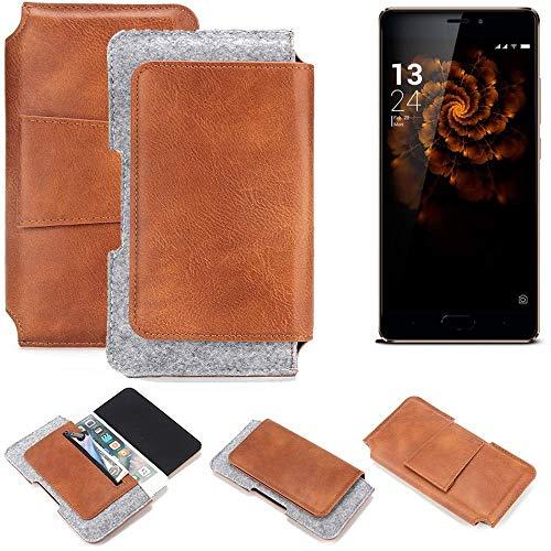 K-S-Trade® Schutz Hülle Für Allview X3 Soul Pro Gürteltasche Gürtel Tasche Schutzhülle Handy Smartphone Tasche Handyhülle PU + Filz, Braun (1x)