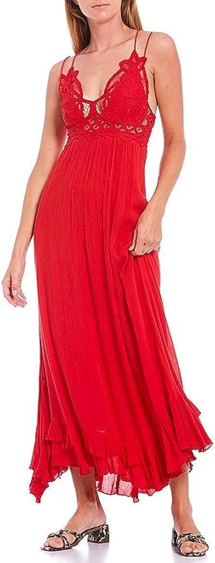 Free People Adella Lace-Trim Maxi Dress Red XS