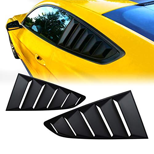 Aishun Dtouch 2 Piece ABS 2 Piece Carbon Black Look Window Left//Right Matte Finish Racing Style Rear Side Window Vent//Louvers Fit for Mustang 2015-2017